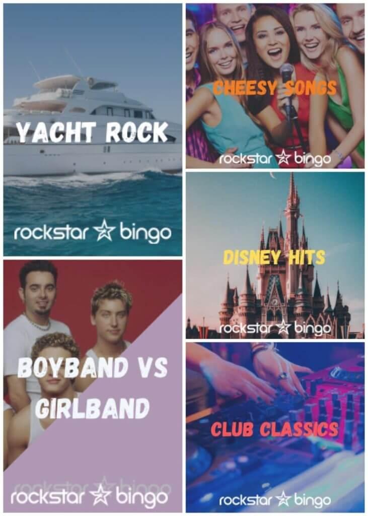 Music Bingo playlists for your venue. Disney Music Bingo. Yacht Rock Music Bingo. Club Classics Music Bingo. Band Music Bingo.