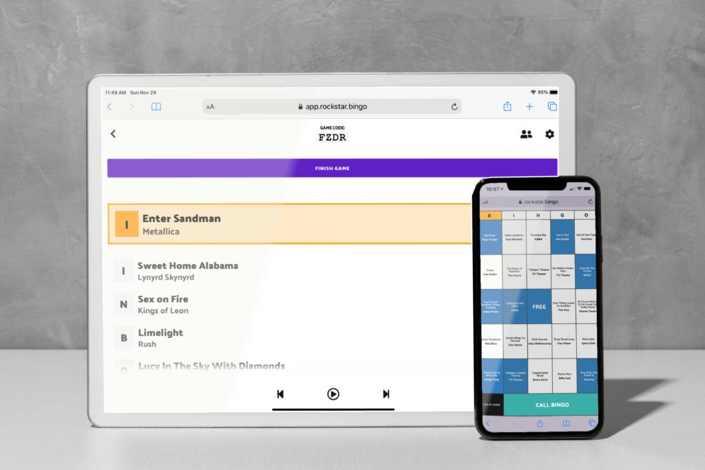 Music bingo app for hosting event. Smartphone app for music bingo.