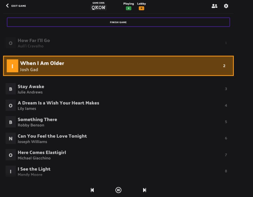 How to host music bingo game with Rockstar Bingo. Host screen showing Disney Music Bingo Playlist.
