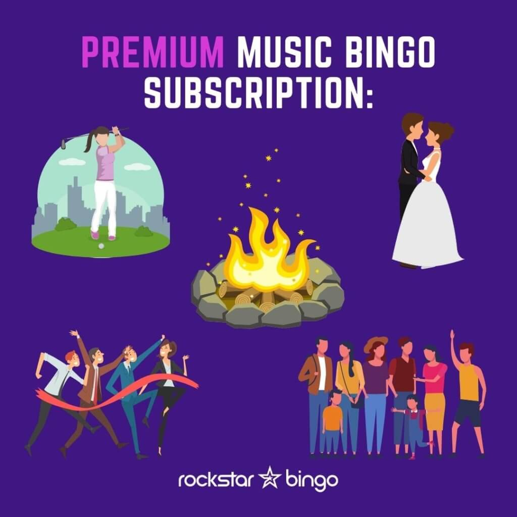 Premium Music Bingo Subscription with Rockstar Bingo. Play and host music bingo for teambuilding, sport events, weddings and radio shows.