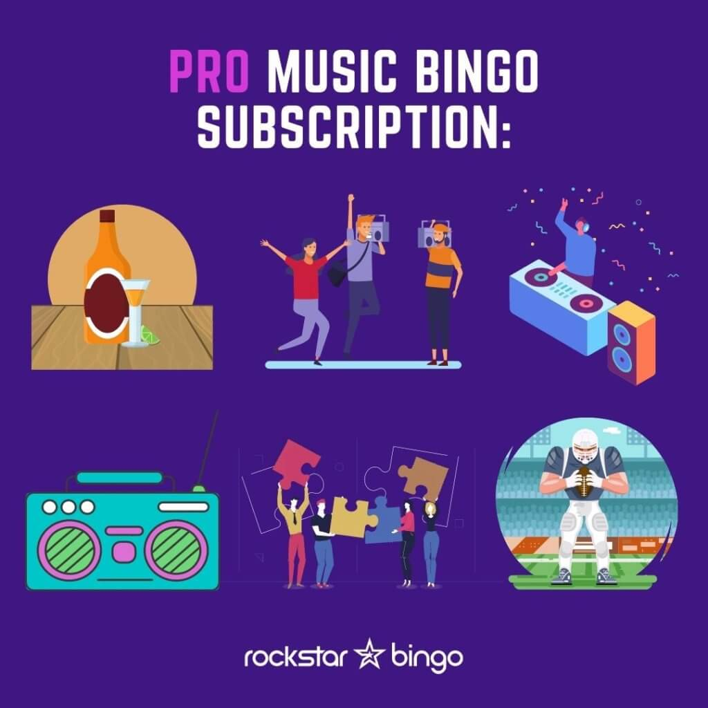 Pro Music Bingo Subscription. Host a large event with Rockstar Bingo. Host for radio shows, theatres, live shows, DJ events.