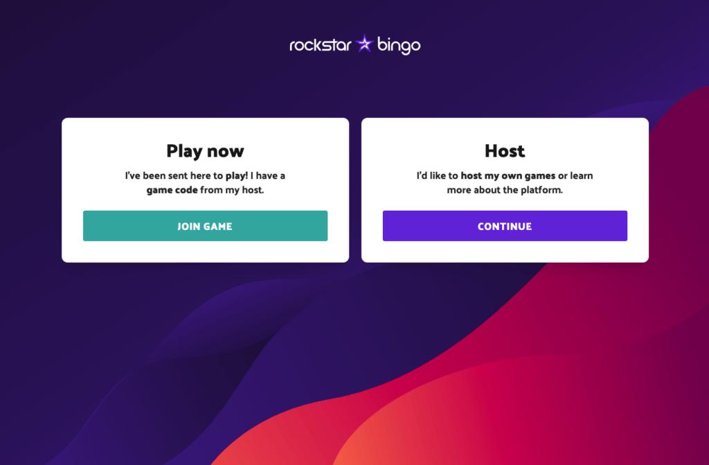 Rockstar Bingo entrance screen. Host or play music bingo with our app.