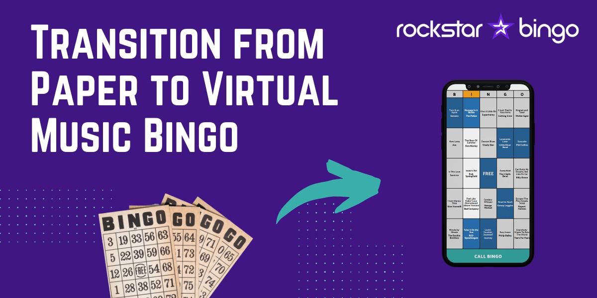 How to host music bingo with Rockstar Bingo - ditch the paper music bingo cards and go virtual.